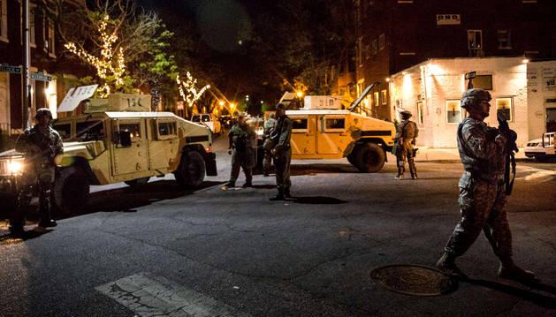 Dispositivo policial en Baltimore.