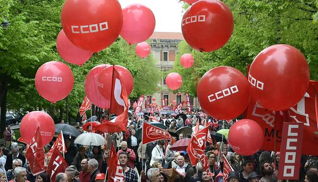Manifestación de UGT y CC OO por el Día del Trabajo