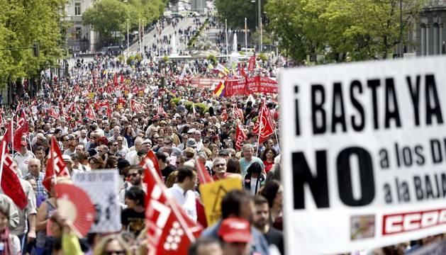 Miles de personas se manifiestan en Madrid por un empleo digno y de calidad