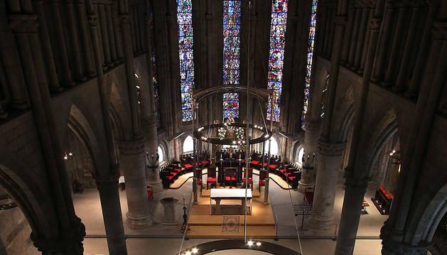 Vista de la Iglesia de Santa María de Roncesvalles desde el triforio.