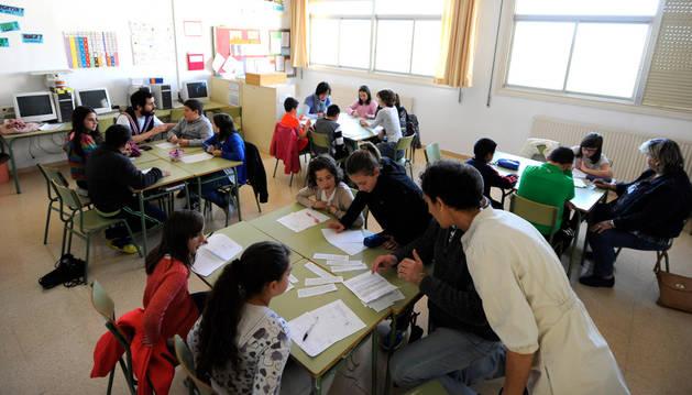 Un momento del encuentro celebrado en el colegio de Mendigorría.