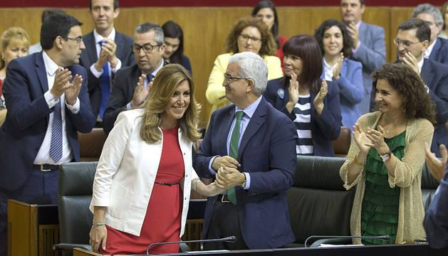 Díaz, tras su intervención de este lunes en el Parlamento andaluz.