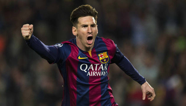 Messi celebra un gol contra el Bayern.