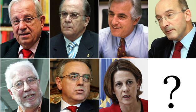 Los siete presidentes de Navarra: Jaime Ignacio del Burgo, Juan Manuel Arza, Gabriel Urralburu, Juan Cruz Alli, Javier Otano, Miguel Sanz y Yolanda Barcina.