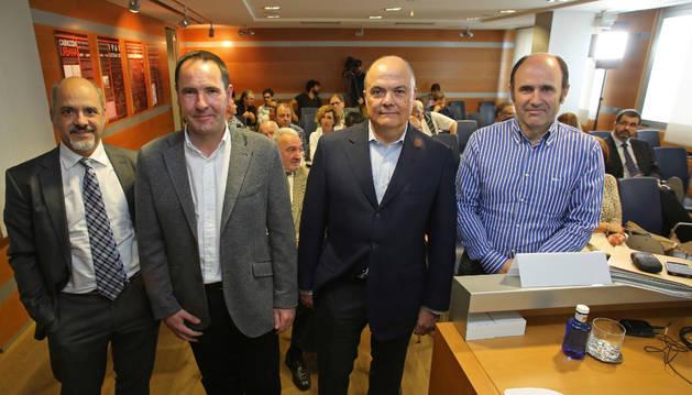 Diego Paños (Ciudadanos), Xabi Lasa (BIldu), José Luis zarraluqui (UPN) y Manu Ayerdi (Geroa Bai).