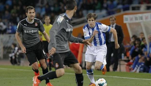 Hervías, con la Real frente al Espanyol.