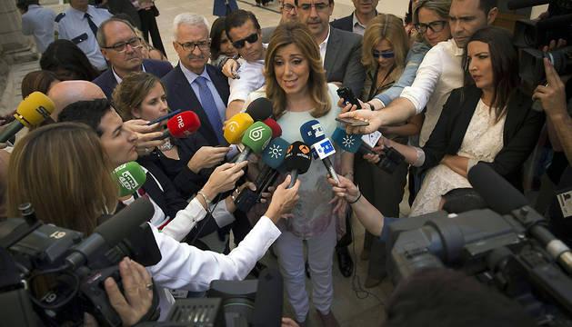 Susana Díaz, en declaraciones a los periodistas tras el rechazo a su investidura.