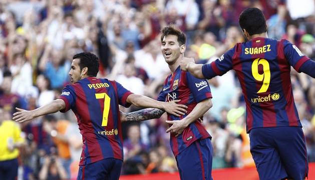 Pedro, Messi y Luis Suárez.