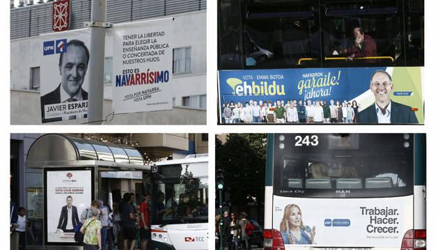 Combo de marquesinas, autobuses y postes de luz, lugares ya habituales donde los partidos políticos colocan su propaganda electoral.