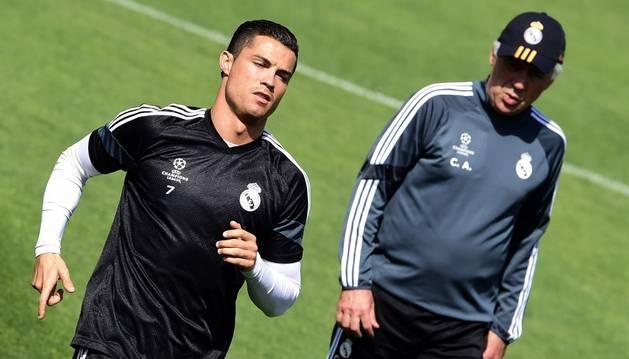 Cristiano y Ancelotti.
