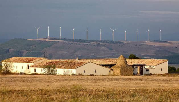 Al fondo, imagen del parque eólico de Moncayuelo.