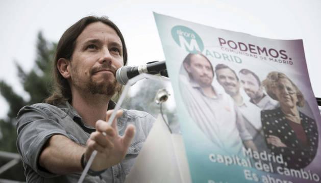 Iglesias, en un mitin este miércoles en Madrid.