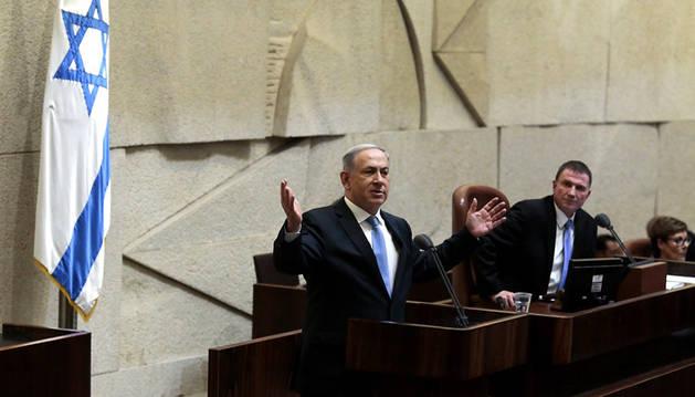 Netanyahu, en el Parlamento de Israel.