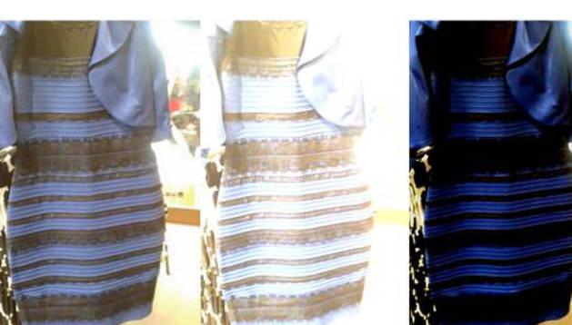 Los distintos colores que pueden verse en el vestido.