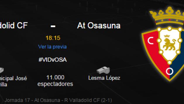 Sigue la retransmisión en directo del Valladolid-Osasuna.