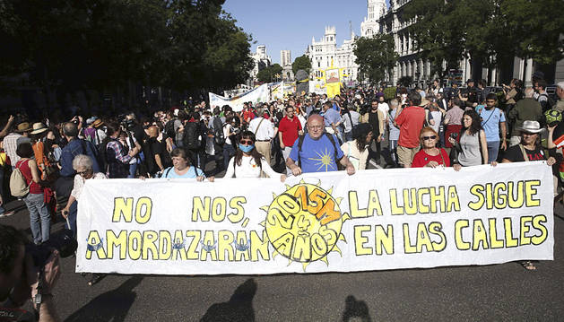 Una de las pancartas que mostraron los manifestantes en Madrid.