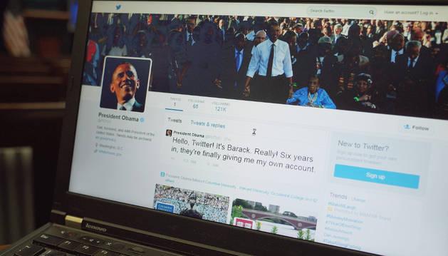 La nueva cuenta de Twitter de Obama.