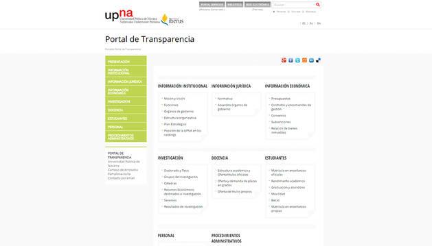 La UPNA abre a los ciudadanos su Portal de Transparencia