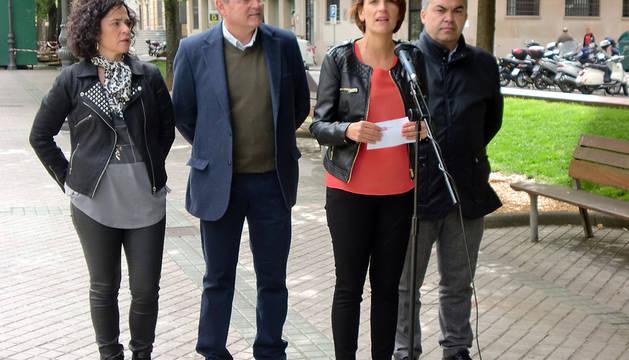 María Chivite, durante el mitin exprés de este martes.