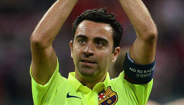 Xavi, tras el partido en Múnich.