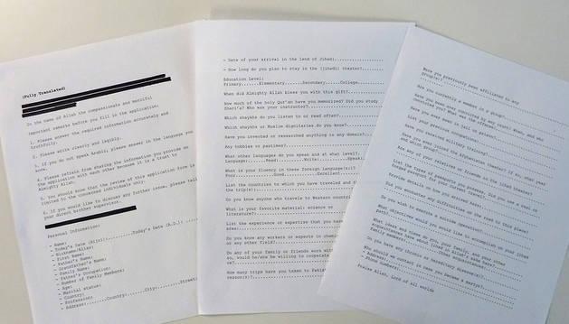 Parte de la transcripción de los documentos.