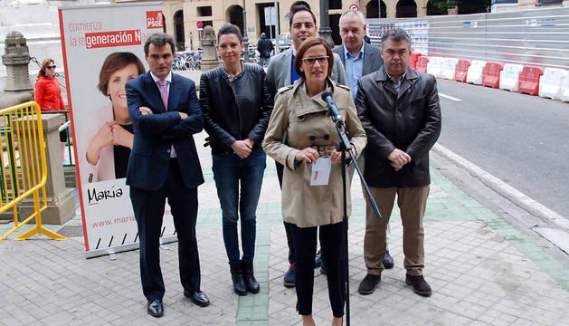María Chivite y su equipo, en el Paseo de Sarasate.