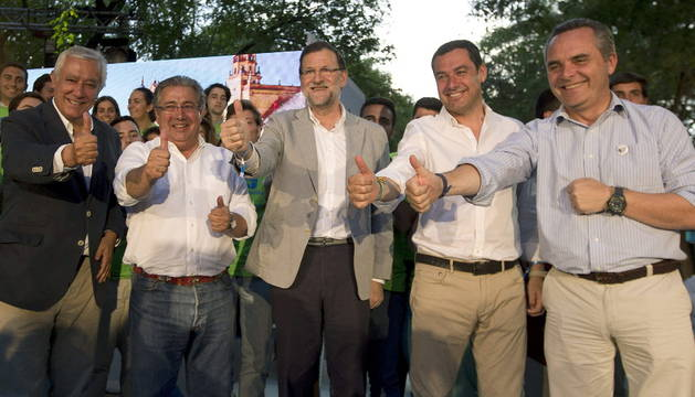 Arenas, Zoido, Rajoy, Zoido, Bueno y Moreno.