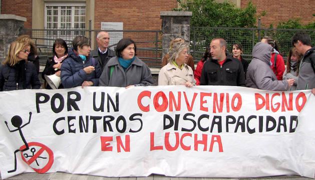 Un momento de la protesta de los trabajadores.