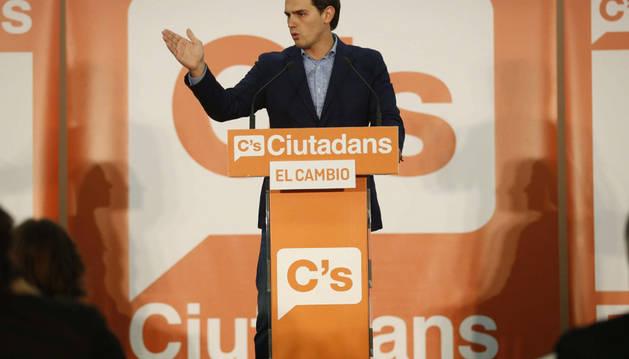El presidente de Ciudadanos, Albert Rivera, durante un acto de la formación, este jueves en Barcelona.