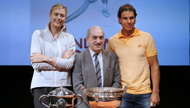 Sharapova y Nadal, en el sorteo.