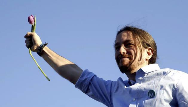 El líder de Podemos, Pablo Iglesias, durante su intervención en el mitin de cierre de campaña.