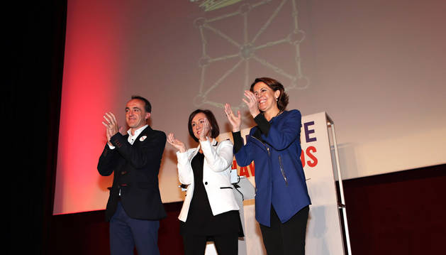 Javier Esparza, Mariví Castillo y Yolanda Barcina, en Tudela.