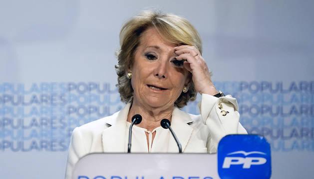 Esperanza Aguirre, candidata del PP a la alcaldía de Madrid, comparece para valorar los resultados electorales.