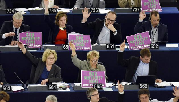 Europarlamentarios del grupo Los Verdes/EFA muestran el lema