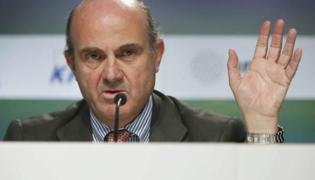 Luis de Guindos durante su intervención hoy en la XXXI Reunión del Círculo de Economía.