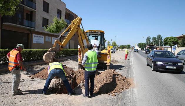Imagen de los primeros trabajos en la carretera de Corella.
