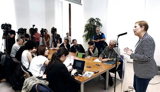 La candidata de Geroa Bai a la Presidencia del Gobierno de Navarra, Uxue Barkos, se ha reunido este miércoles con representantes del PPN y del PSN-PSOE.