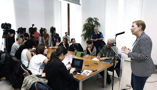 Uxue Barkos, durante la rueda de prensa que ha ofrecido este viernes.