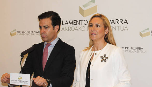 Pablo Zalba y Ana Beltrán comparecen tras la reunión con Geroa Bai.