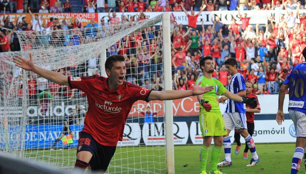David García celebra el 2-0.