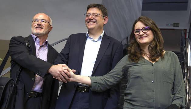 Ximo Puig (PSPV), Mónica Oltra (Compromís) y Antonio Montiel (Podemos).