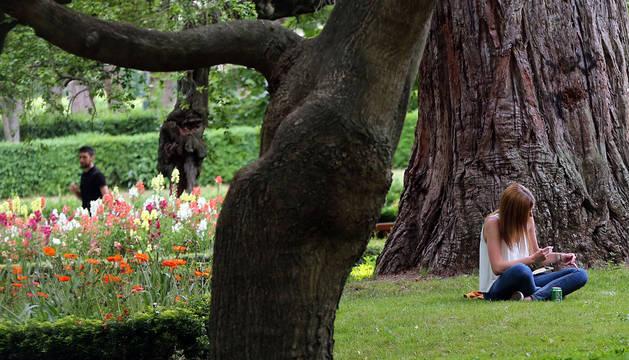 Una chica lee en un jardín.