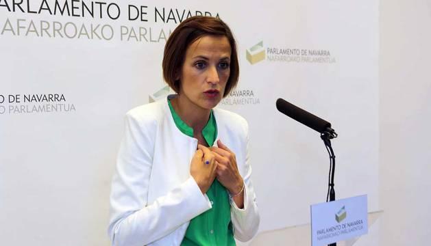 María Chivite, en el Parlamento de Navarra.