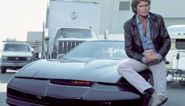 David Hasselhof, con KITT en El coche fantástico.