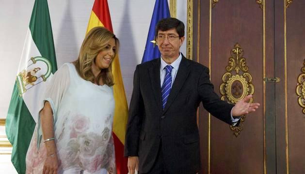 Susana Díaz y Juan Marin, líder de Ciudadanos en Andalucía.