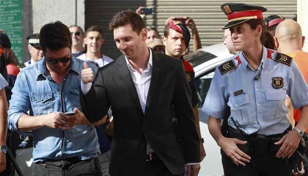 Messi, en el juzgado de Gavá en septiembre de 2013.
