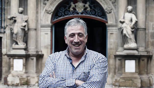 El candidato de EH Bildu a la alcaldía de Pamplona, Joseba Asiron.