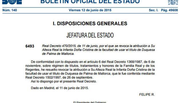 El BOE publica el real decreto que revoca el título de Duquesa de Palma a la infanta Cristina