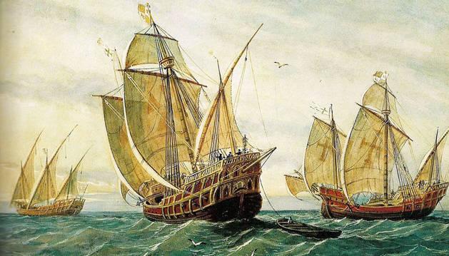 Una recreación de las naves de Colón.