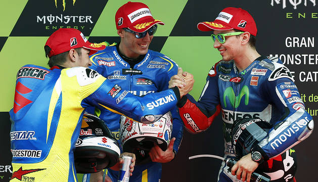 Espargaró, Viñales y Lorenzo, en el podio.